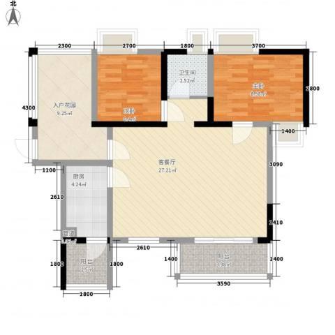 阳光棕榈园2室1厅1卫1厨75.31㎡户型图