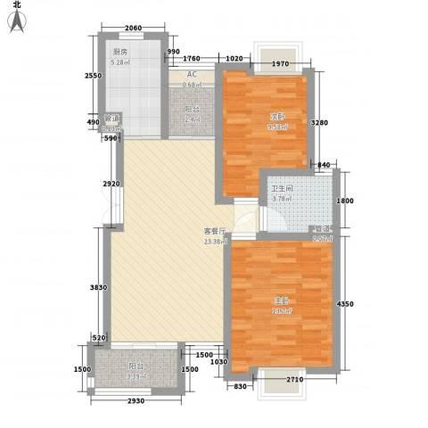 新港名尚花园2室1厅1卫1厨93.00㎡户型图