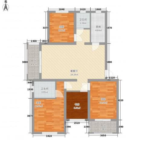 枫尚奥园4室1厅2卫1厨125.00㎡户型图