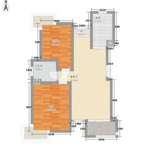 新港名尚花园2室1厅1卫1厨94.00㎡户型图