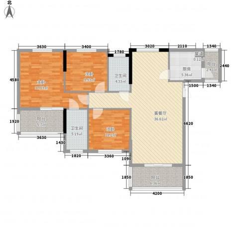 天泽一方3室1厅2卫1厨148.00㎡户型图