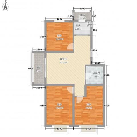 万熹绿景3室1厅1卫1厨101.00㎡户型图