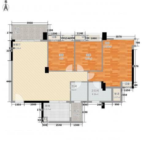 中央华庭3室1厅2卫1厨132.00㎡户型图