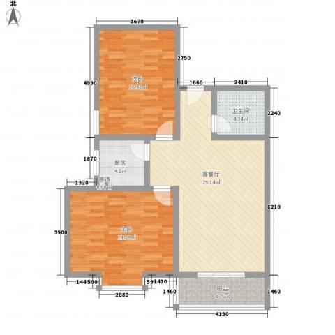 江山如画三期2室1厅1卫1厨110.00㎡户型图