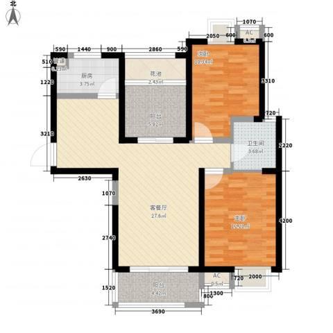 无锡滨湖万达广场2室1厅1卫1厨105.00㎡户型图