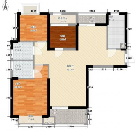 听涛观海龙台3室1厅2卫1厨104.00㎡户型图