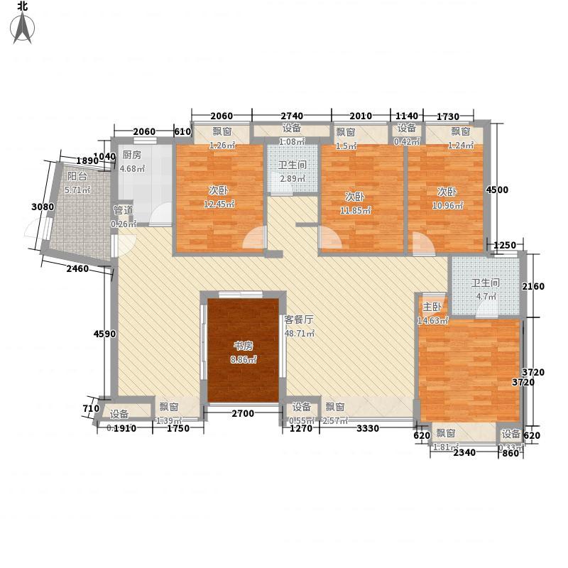 东郡168.88㎡二期誉苑8#-4B户型4室2厅2卫1厨