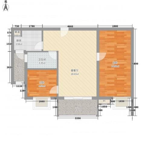 翔韵雅荟2室1厅1卫1厨78.00㎡户型图