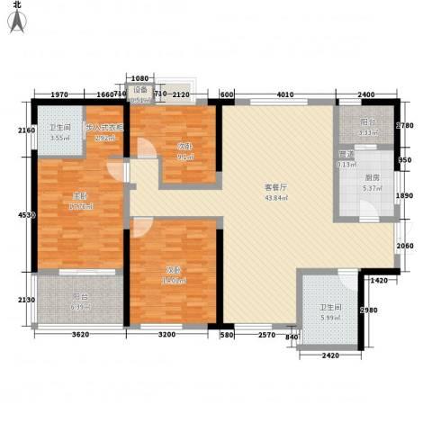 江山如画二期3室1厅2卫1厨125.71㎡户型图