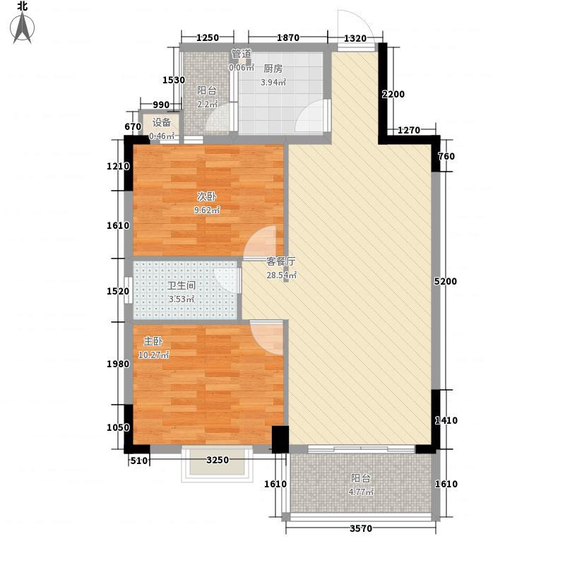 银丰花园88.40㎡45-46座03单元户型2室2厅2卫
