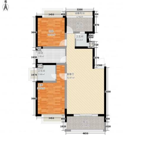 康桥半岛秀溪公寓2室1厅2卫1厨120.00㎡户型图