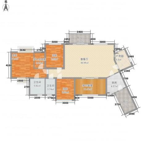 君汇华庭3室1厅2卫1厨142.00㎡户型图