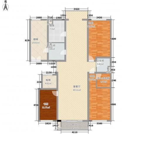 嘉业景园3室1厅2卫1厨172.00㎡户型图