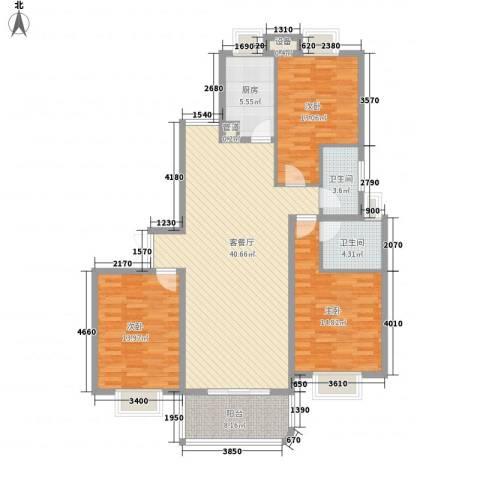 江山如画二期3室1厅2卫1厨116.89㎡户型图