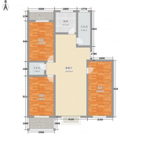中润怡园3室1厅2卫1厨160.00㎡户型图