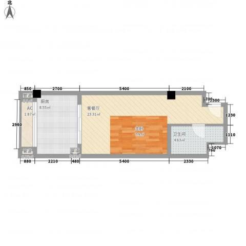 隆鑫三峡国家度假公园1厅1卫1厨58.00㎡户型图