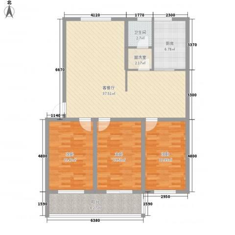 温泉四季花城3室1厅1卫1厨131.00㎡户型图