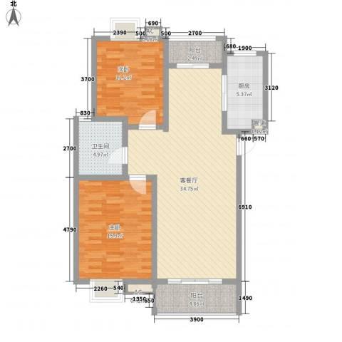 恒盛泰晤士印象2室1厅1卫1厨79.65㎡户型图