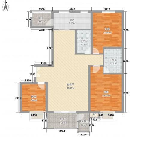 金隅时代城1室1厅2卫1厨140.00㎡户型图