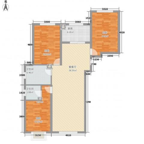 青川嘉园3室1厅2卫1厨134.00㎡户型图
