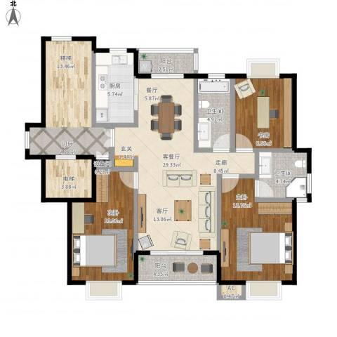 领秀江南花苑3室1厅2卫1厨151.00㎡户型图