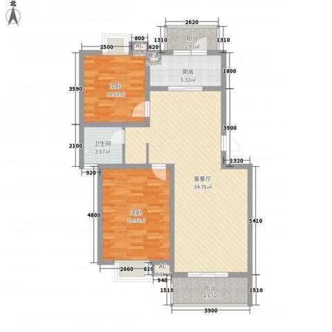 恒盛泰晤士印象2室1厅1卫1厨77.66㎡户型图