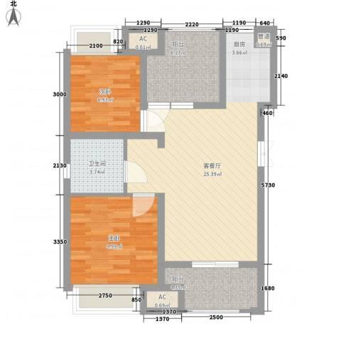 中大未来城2室1厅1卫0厨86.00㎡户型图