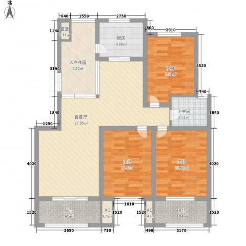 华源山水国际3室1厅1卫1厨124.00㎡户型图