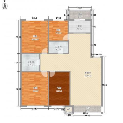 晨光国际花园4室1厅2卫1厨169.00㎡户型图