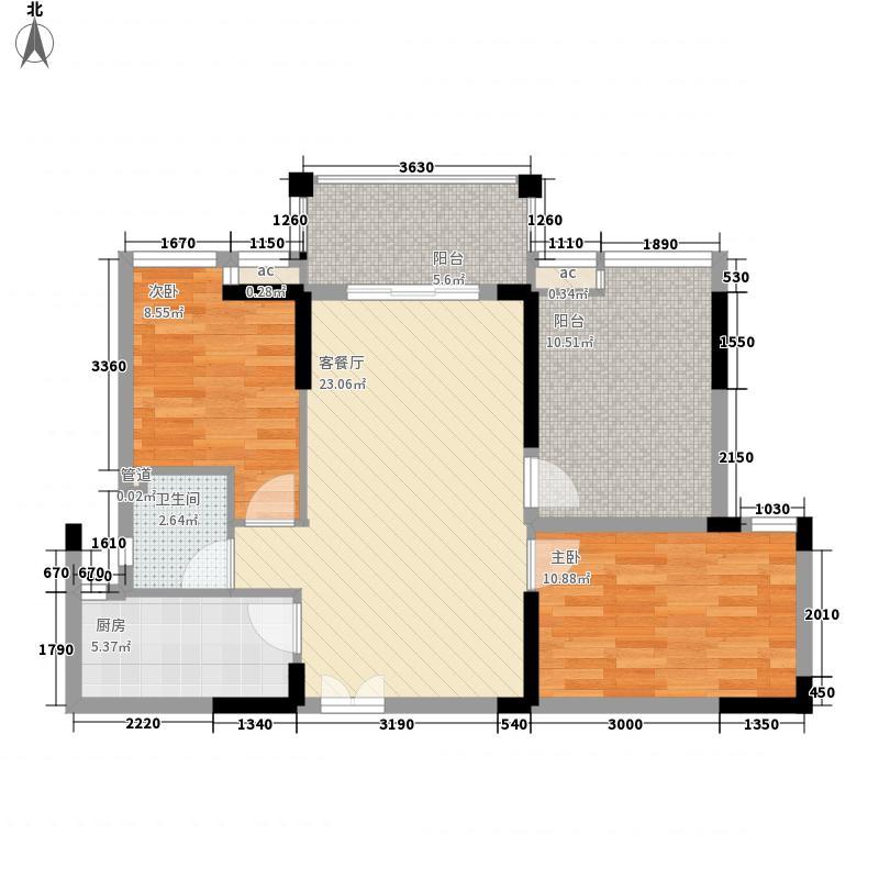 宝安椰林湾83.00㎡宝安椰林湾户型图二期F3户型2室2厅1卫户型2室2厅1卫