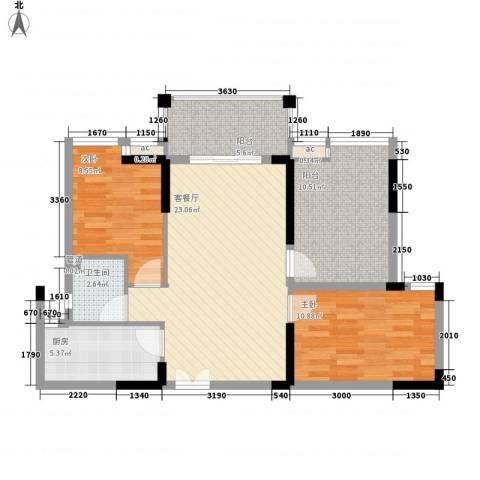 宝安椰林湾2室1厅1卫1厨83.00㎡户型图