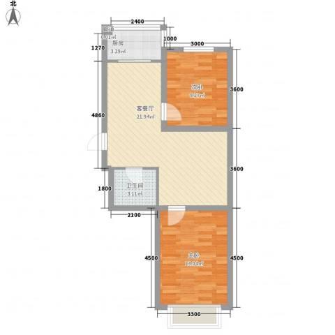 万熹绿景2室1厅1卫1厨73.00㎡户型图