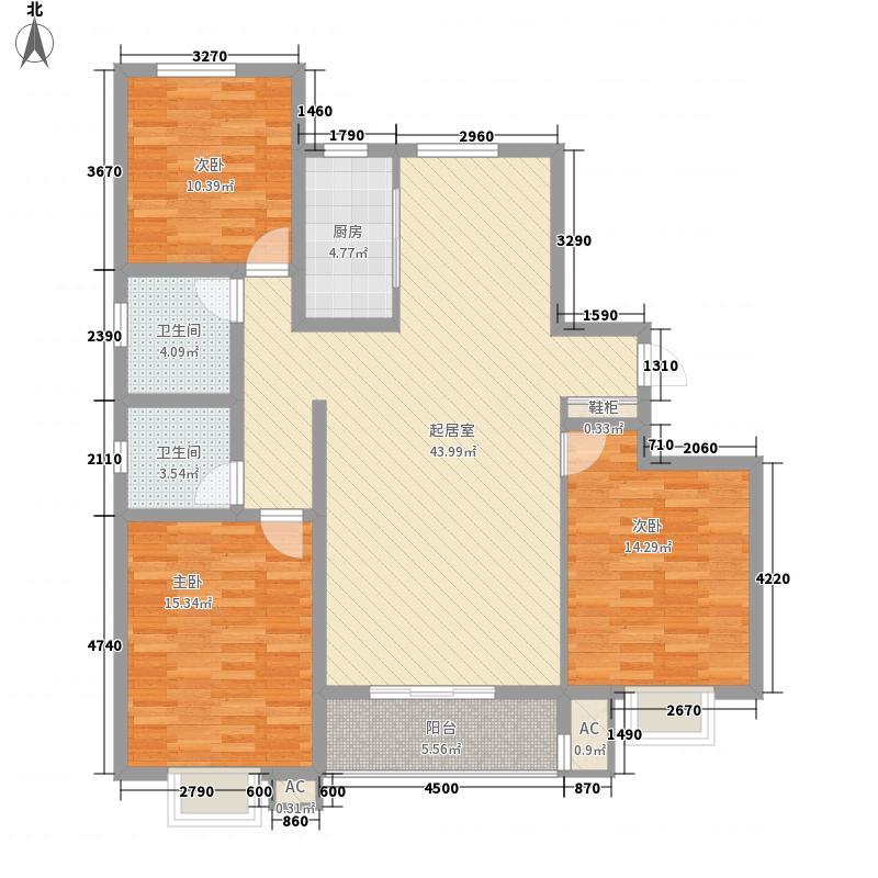 枫景华庭145.00㎡4号楼G户型3室2厅2卫1厨