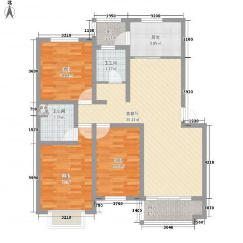 天赐良园3室1厅2卫1厨119.00㎡户型图