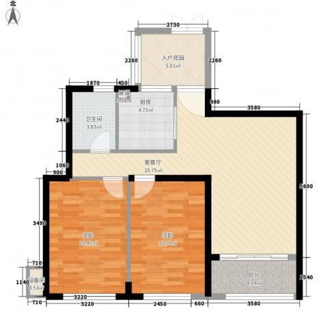 西双版纳滨江果园避寒度假山庄2室1厅1卫1厨101.00㎡户型图