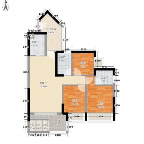 新德家园3室1厅2卫1厨97.00㎡户型图
