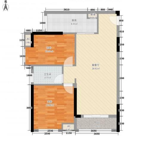 鸿翠阁2室1厅1卫1厨75.18㎡户型图