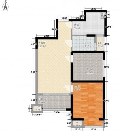 �灞1号1室1厅1卫1厨83.00㎡户型图