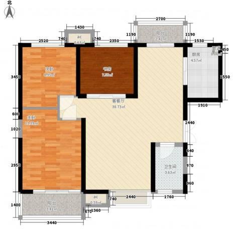 �灞1号3室1厅1卫1厨110.00㎡户型图