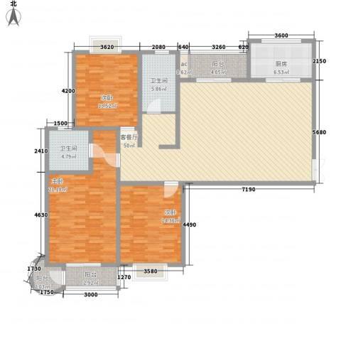 领汇双河湾3室1厅2卫1厨163.00㎡户型图