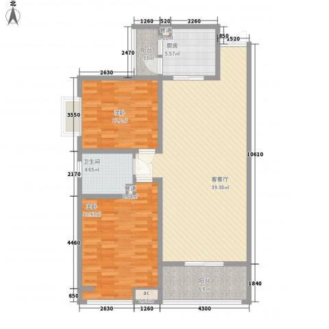 领汇双河湾2室1厅1卫1厨114.00㎡户型图