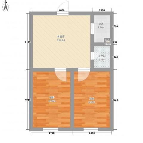 鼎成公馆2室1厅1卫1厨59.00㎡户型图