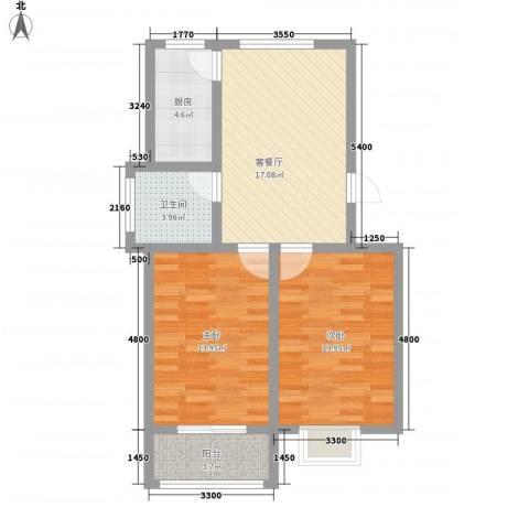 翡翠城2室1厅1卫1厨75.00㎡户型图