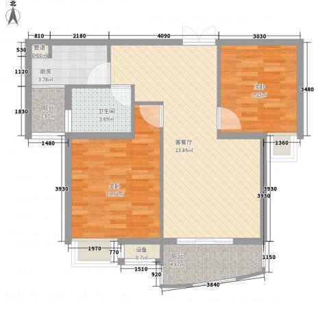 天赐良园2室1厅1卫1厨88.00㎡户型图