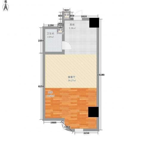 海格国际1厅1卫0厨61.00㎡户型图