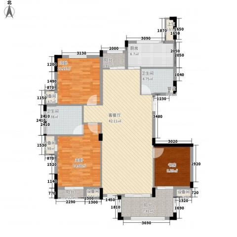 星汇半岛3室1厅2卫1厨137.00㎡户型图