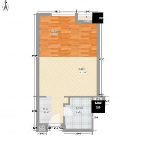 无锡滨湖万达广场1厅1卫0厨55.00㎡户型图