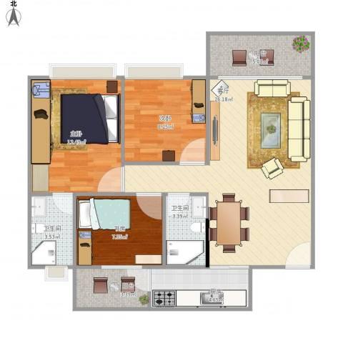 万威美地3室1厅2卫1厨101.00㎡户型图