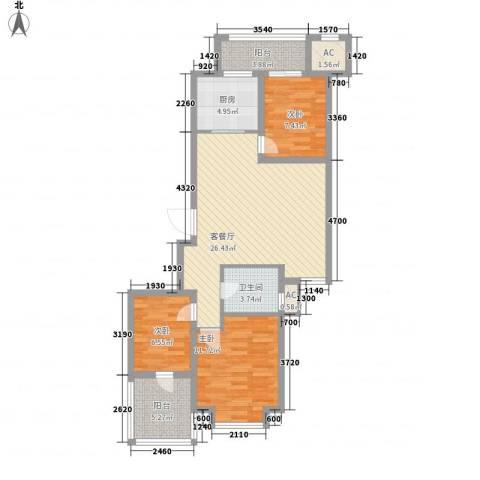 绿洲家园3室1厅1卫1厨105.00㎡户型图