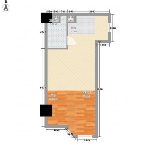 海格国际1厅1卫0厨57.00㎡户型图